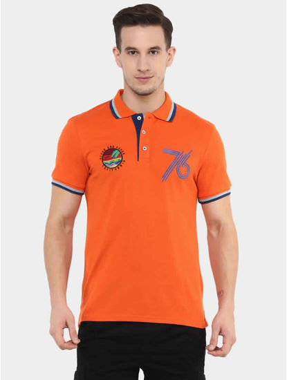 Jesuperand Orange Printed Polo T-Shirt