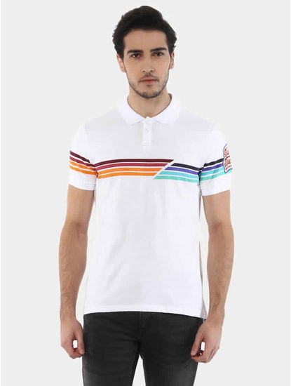 Jetwin White Melange Polo T-Shirt
