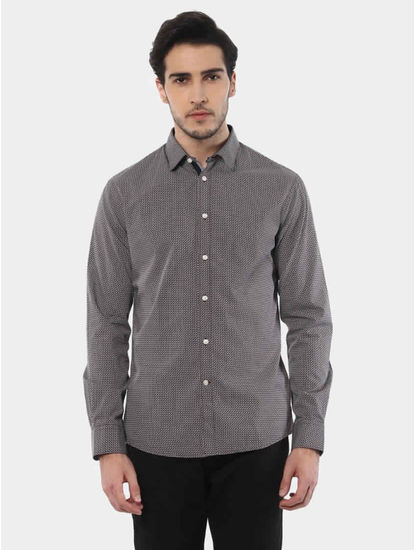 Jaretro Grey Printed Casual Shirt