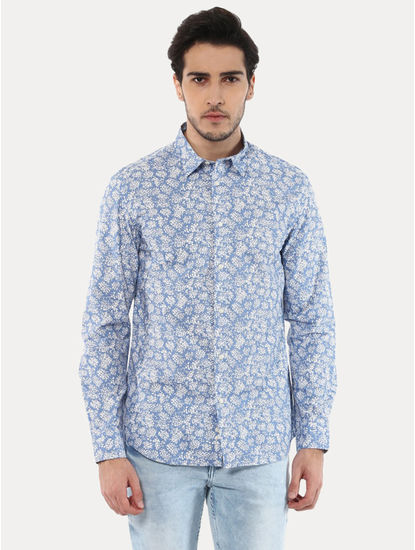 Jabouquet Blue Printed Casual Shirt
