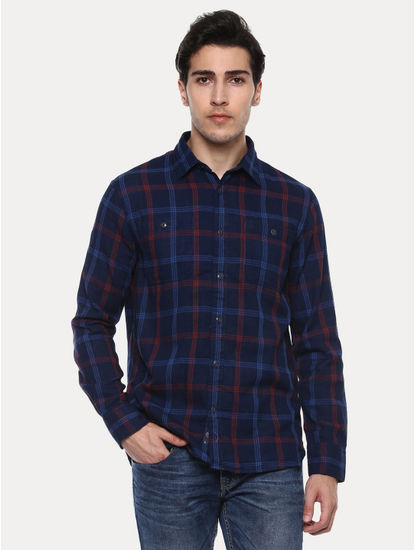 Jaburg Blue Checked Casual Shirt