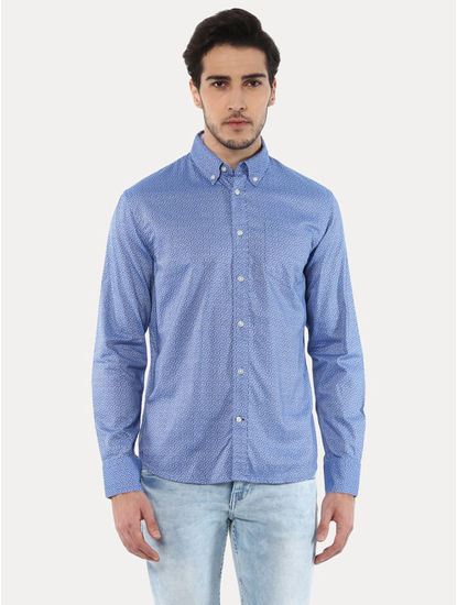 Jaoxelbi Blue Printed Casual Shirt