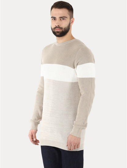 Getrio Beige Colourblock Sweater