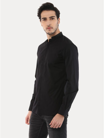 Jafake Black Solid Casual Shirt