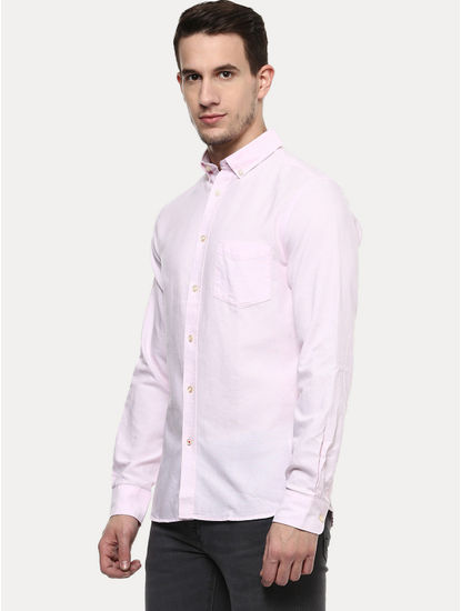 Light Pink Solid Casual Shirt