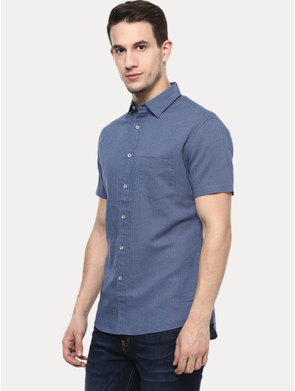 Blue Printed Casual Shirt