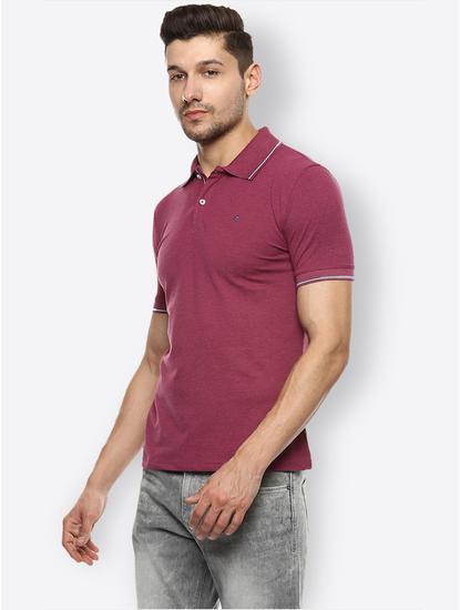 Dark Pink Melange Polo T-Shirt