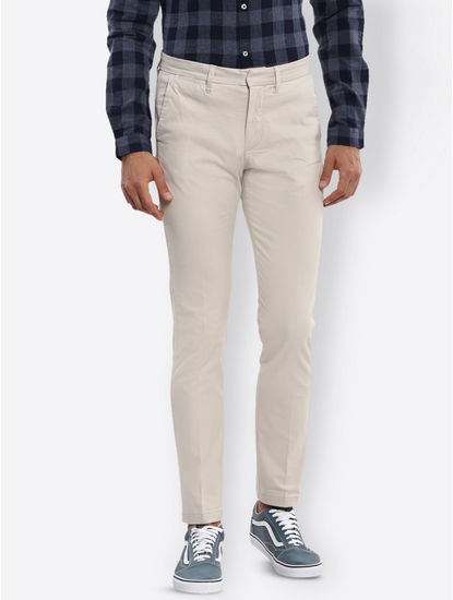 Light Beige Solid Straight Jeans