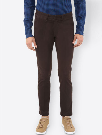 Brown Solid Straight Jeans