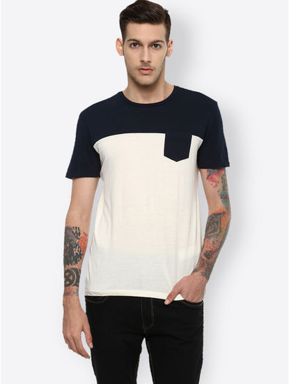 Navy and White Colourblock T-Shirt