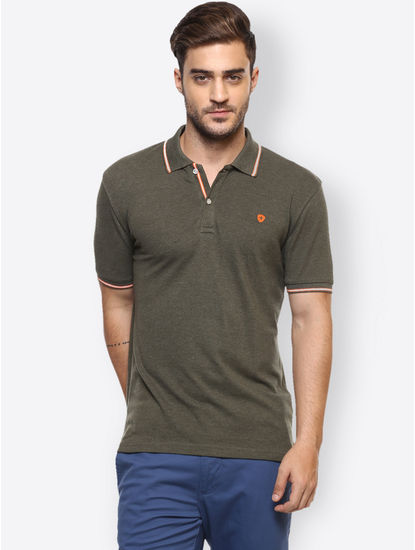 Khaki Solid Polo T-Shirt