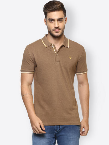 Light Brown Solid Polo T-Shirt