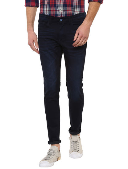 Navy Blue Solid Straight Skinny Fit Jeans