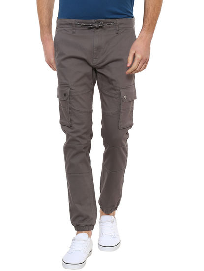 Grey Solid Casual Joggers