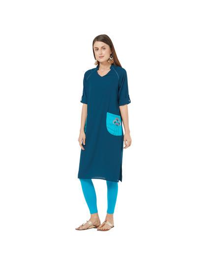 Blue Solid Kurta