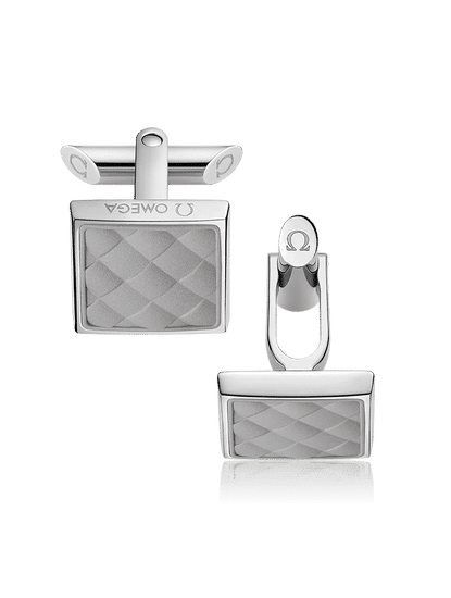 Stainless Steel  Grey Rubber Cufflinks