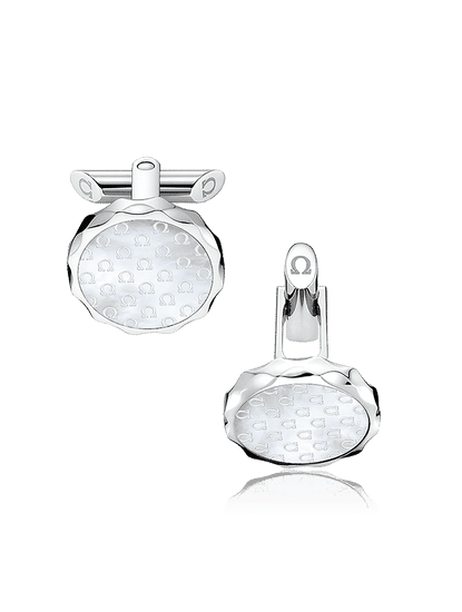 Stainless Steel  Omega-Pattern Engraved Mother-of-Pearl Cufflinks?