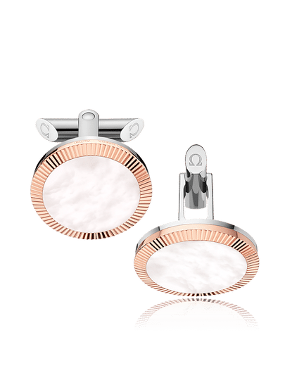 Stainless Steel  Beige Mother-of-Pearl Painted Plates Cufflinks?