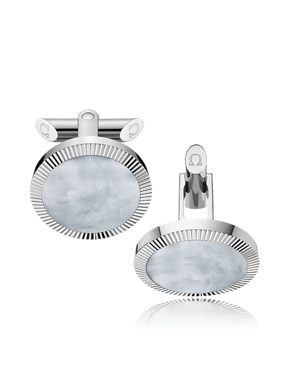 Stainless Steel  Grey Mother-of-Pearl Painted Plates Cufflinks?