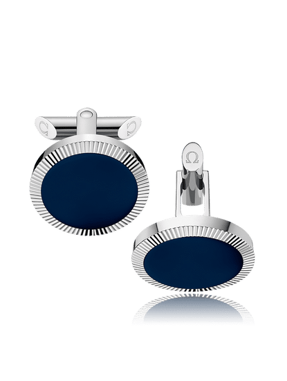 Stainless Steel  Dark Blue Mother-of-Pearl Painted Plates Cufflinks?