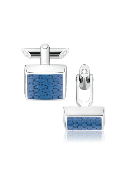 Stainless Steel  Blue Resin Cufflinks