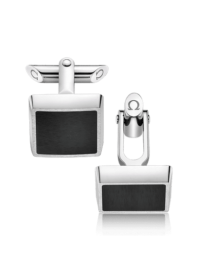 Stainless Steel  Black Brushed Resin Cufflinks