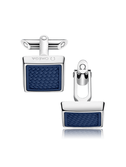 Stainless Steel  Blue Structured Rubber Cufflinks