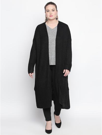 Black Knit Long Cardigan