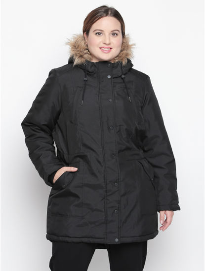 Black Fur Hood Parka Jacket