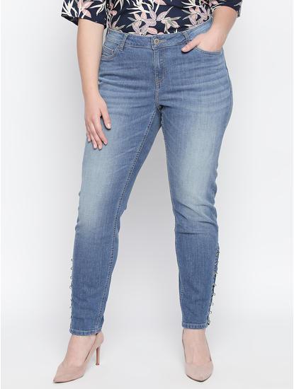 Blue Rivet Detail Skinny Fit Jeans