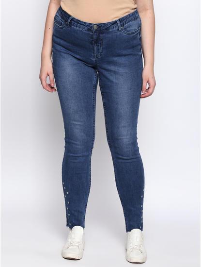 Blue Rivet Detail Slim Fit Jeans