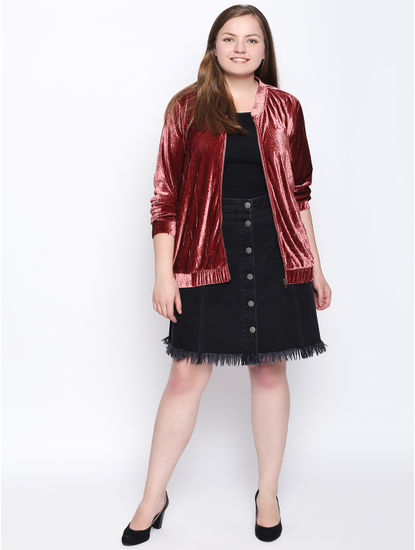 Rose Velvet Bomber Jacket