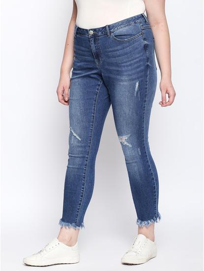 Blue Frayed Hem Distressed Slim Jeans