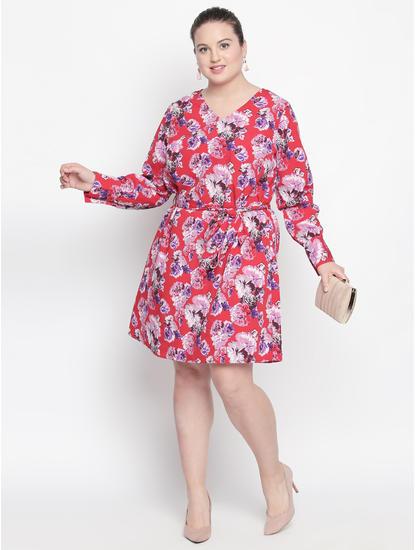 Red Floral Print Shift Dress