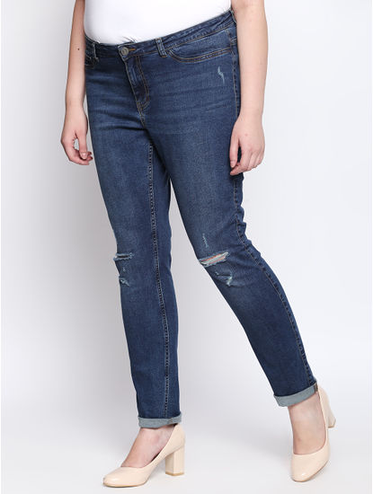 Blue Knee Ripped Slim Fit Jeans