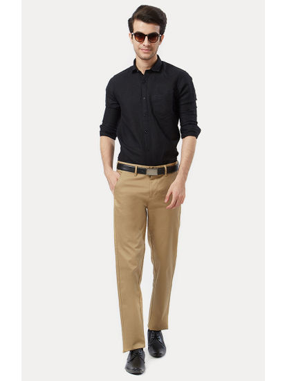 Light Khaki Flat Front Formal Trousers