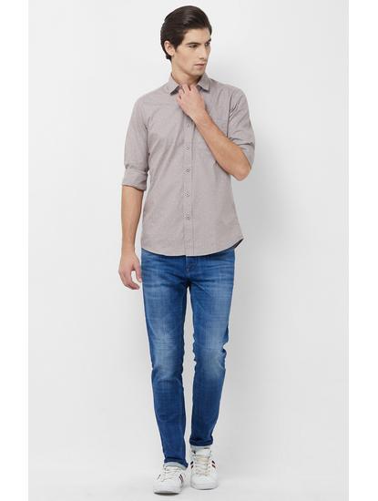 Grey Printed Casual Shirt