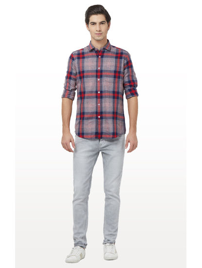 Navy and Red Checked Casual Shirt