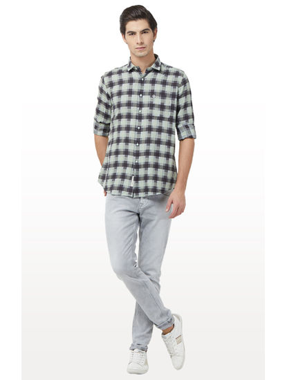 Green and Grey Checked Casual Shirt