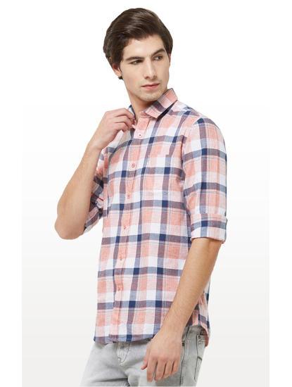 Peach Checked Casual Shirt