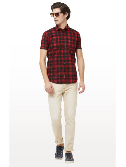 Black and Red Checked Casual Shirt