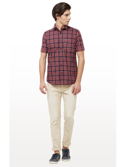 Navy and Pink Checked Casual Shirt