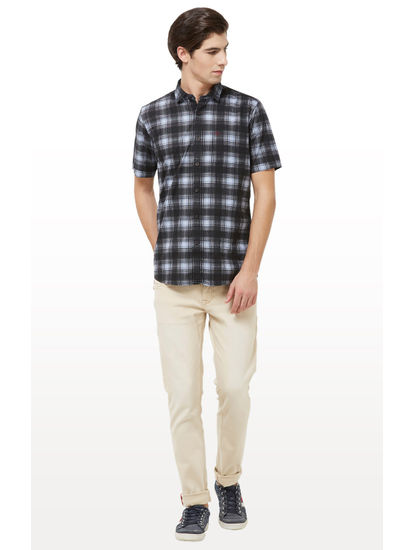 Black and Blue Checked Casual Shirt