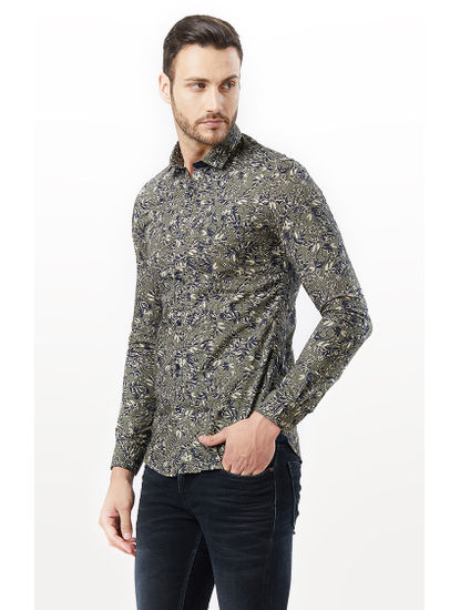 Olive Printed Casual Shirt