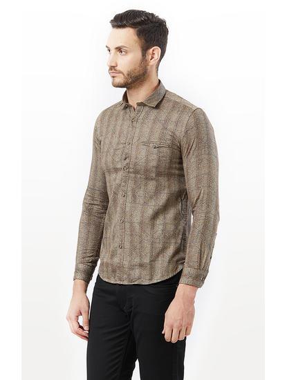 Brown Printed Casual Shirt