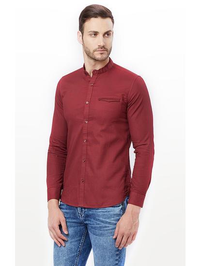 Maroon Solid Casual Shirt
