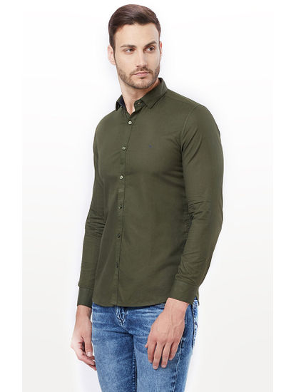 Green Solid Casual Shirt