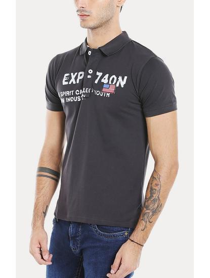 Charcoal Printed Polo T-Shirt