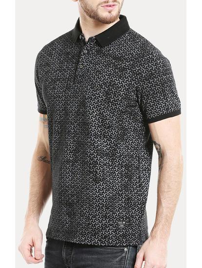 Black Printed Polo T-Shirt