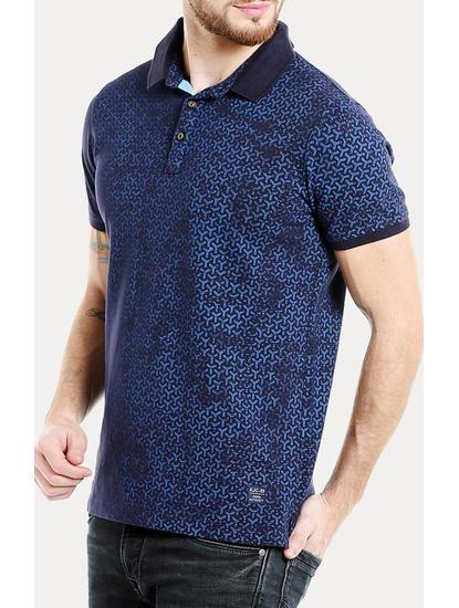 Blue Printed Polo T-Shirt